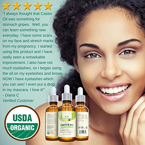 Organic Castor Oil USDA Certified Organic 100 Pure Cold Pressed Extra Virgin Hexane Free Best Treatment For Eyelashes Hair Eyebrows Skin Boosts Growth Instantly With Applicator Kit
