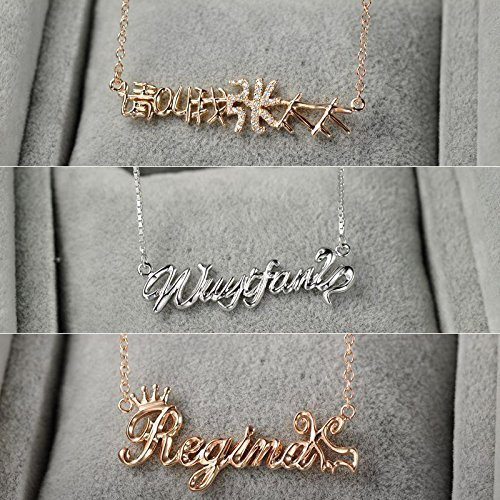 Generic Special_ custom-made 925 Silver lettering letters _the_English_ name necklace Pendant women girl couple DIY custom Creative Korean collar bone by Generic