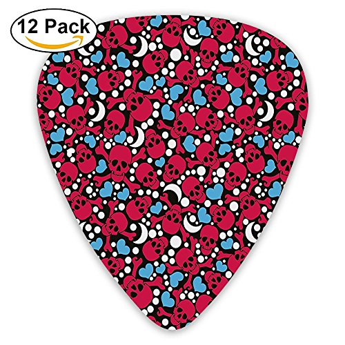 Newfood Ss Smiling Red Skulls With Cross Signs Hearts Moons And Dots Pattern Guitar Picks 12/Pack Set
