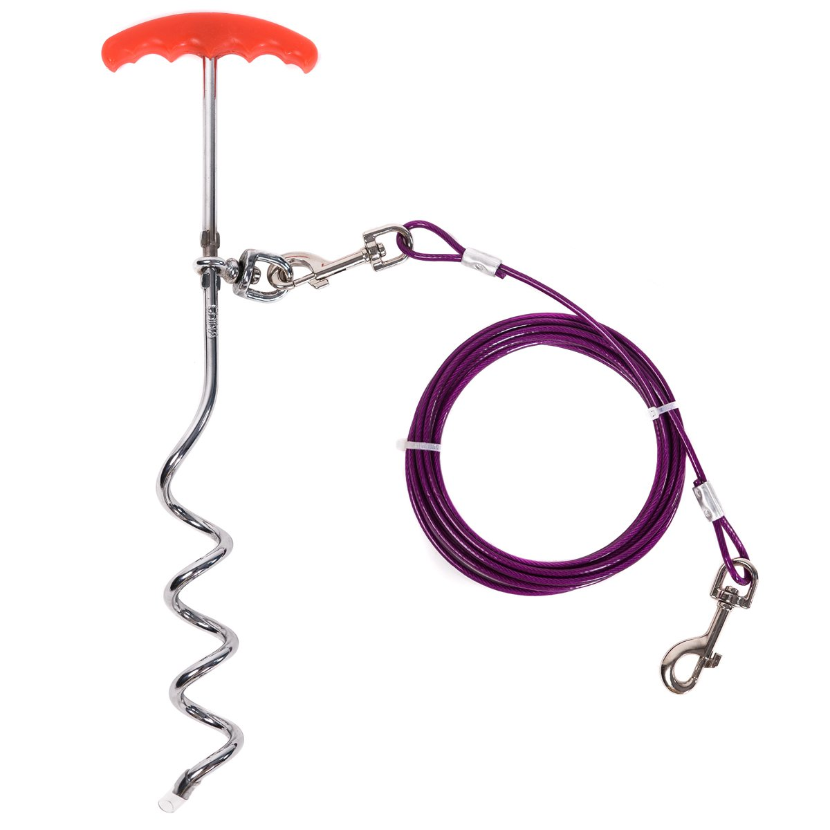 Favorite 16-inch Spiral Stake with 15-feet Tie Out Cable for Large Medium Dogs Outdoors, Camping and Garden