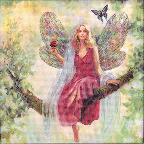 M C G Textiles 14 Count Summer Tree Fairy Embellished Counted Cross Stitch Kit, 12 by - Cross Fairy Stitch