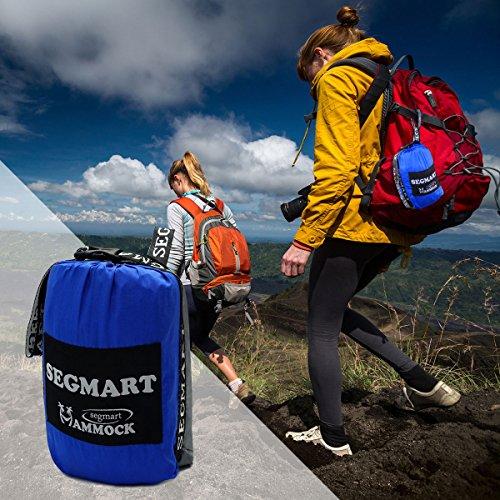 SEGMART Double XL Hammocks with Hammock Straps & Carabiners - Blue/Silver