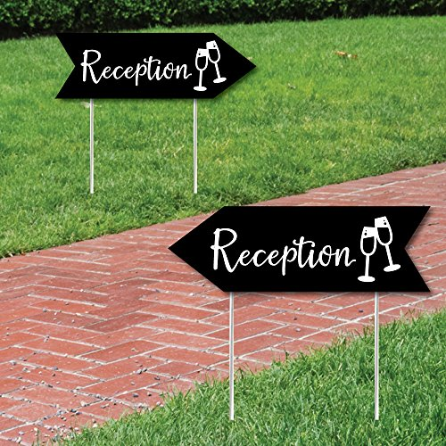 Black Wedding Reception Signs - Wedding Sign Arrow - Double Sided Directional Yard Signs - Set of 2 Reception (Party Directional Sign)