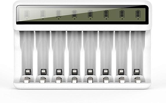 Oferta amazon: POWEROWL Cargador de Pilas Recargables AA AAA con 8 Ranuras, Inteligente Cargador de Pilas con Pantalla LCD (Puerto USB, Sin Pilas)