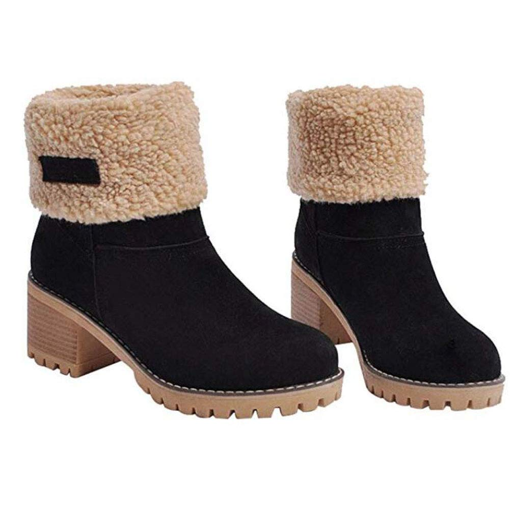 Otamise Women Cute Warm Short Boots Suede Chunky Mid Heel Round Toe Winter Snow Ankle Booties