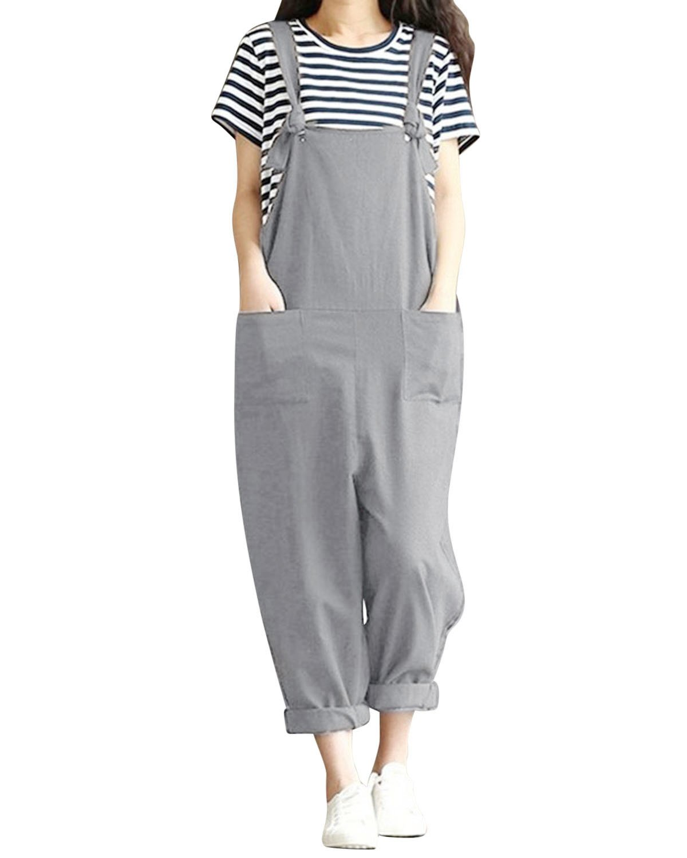 Jacansi Women Casual Sleeveless Jumpsuit Playsuit Trousers Pants Pockets Dungarees UK 6-22