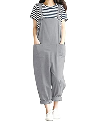 8e4aab28b5 LVCBL Women Summer Retro Overall Sleeveles Playsuit Jumpsuit Wide Leg  Trousers Pants Gray XL  Amazon.co.uk  Clothing