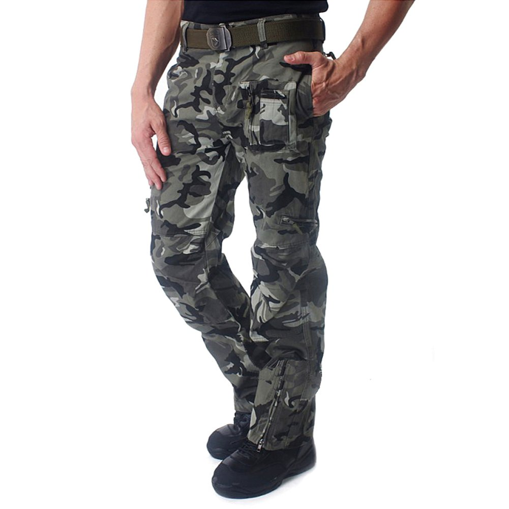 CRYSULLY Men's Summer Outdoors Casual Military Style Pants Tactical Army Multicam Woodland Work Cargo Pants