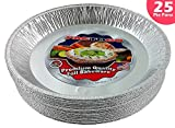 Pactogo 12'' Aluminum Foil Pie Pan Extra-Deep Disposable Tin Plates (Pack of 25)