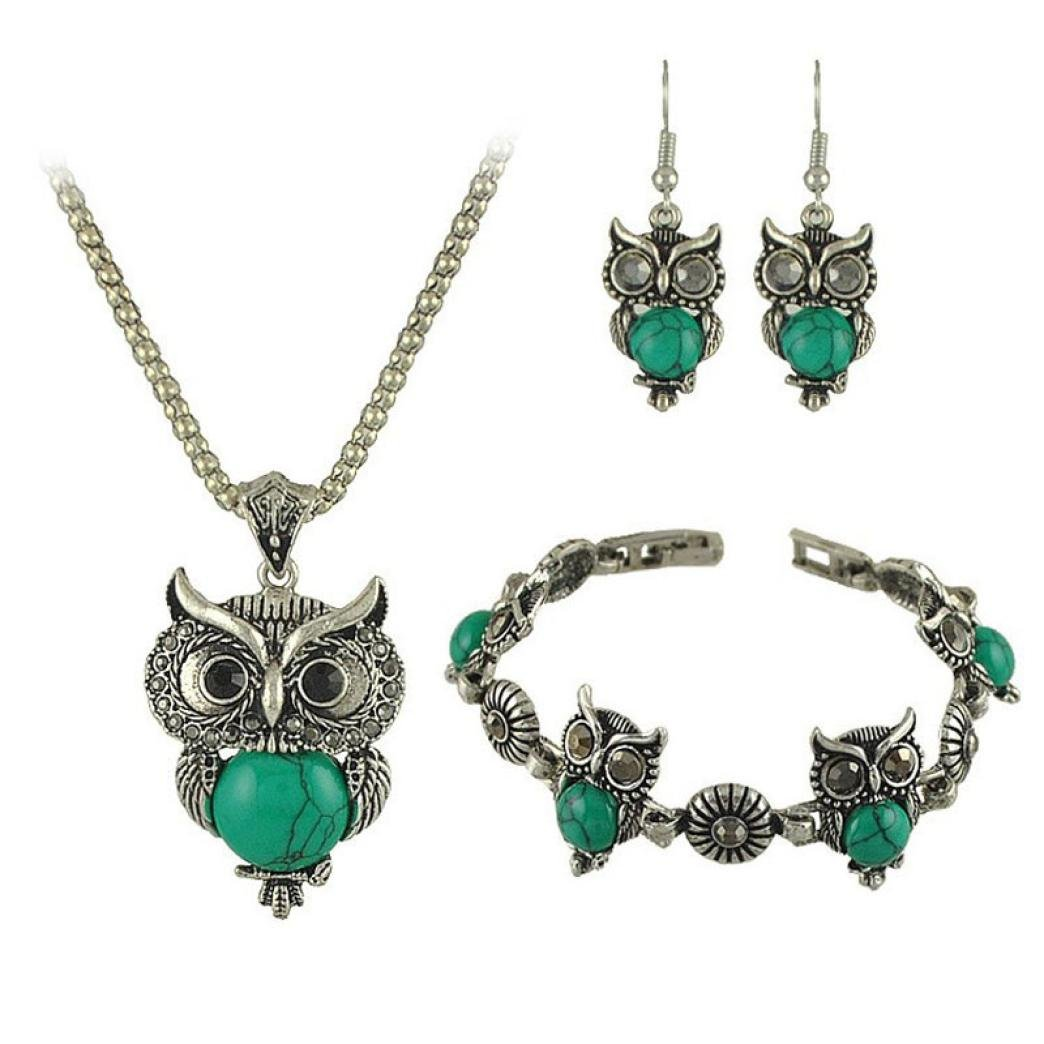 Coromose One Set Of Retro Owl Bracelet + Necklace + Earring (Green)