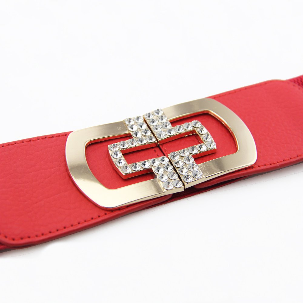 60mm Elastic Waist Belts for Ladies - Diamante/Diamond Embellishment Belt Buckle 495 Design - Wide and Stretchable for Women - Assorted Colours and Sizes