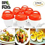 Egg Cooker Hard & Soft Maker and Separators, Poached Boiled Eggs Steamer, BPA Free, No Shell, Non Stick Silicone, AS SEEN ON TV , 6 Egg Cups