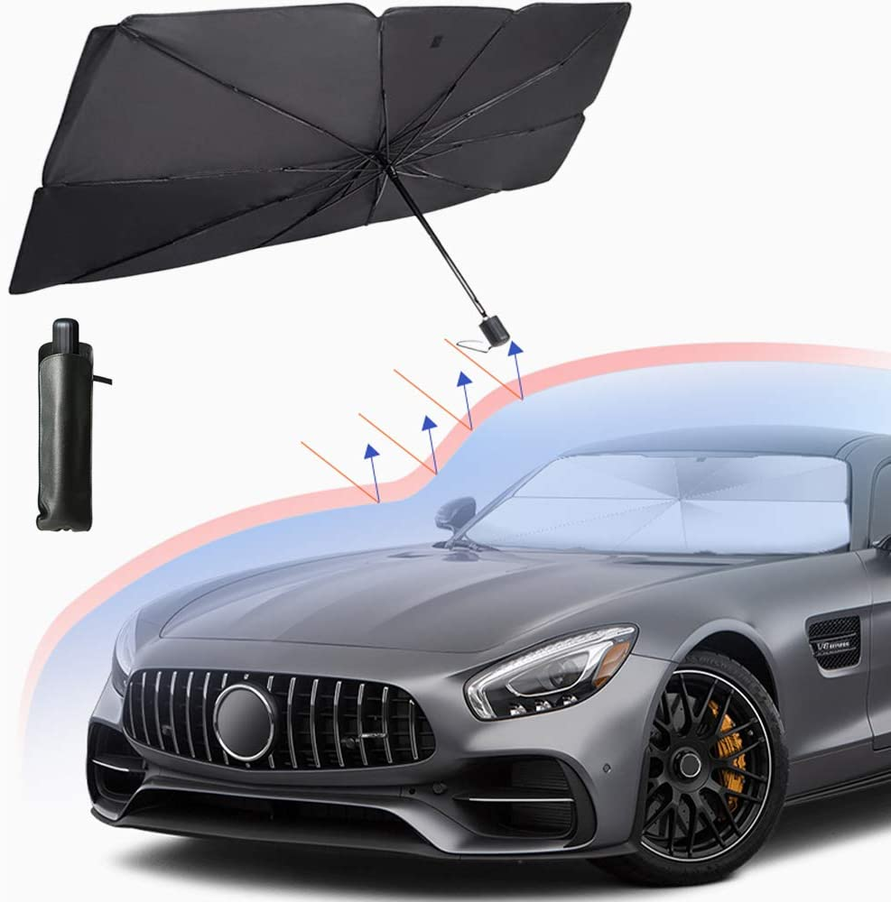 YUNM Car Windshield Sun Shade Umbrella Protection Cover UV Rays and Heat Sun Visor Protector,Foldable Reflector Umbrella Placed Behind Glass to Block UV Rays Fits Most Vehicle Models Small Size
