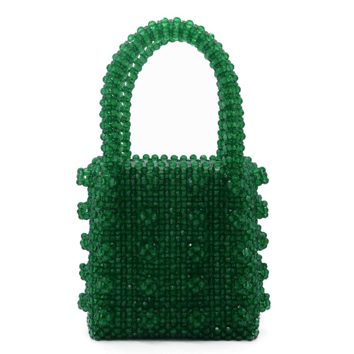 Miuco Womens Beaded Handbags Handmade Weave Crystal Pearl Tote Bags (Green)