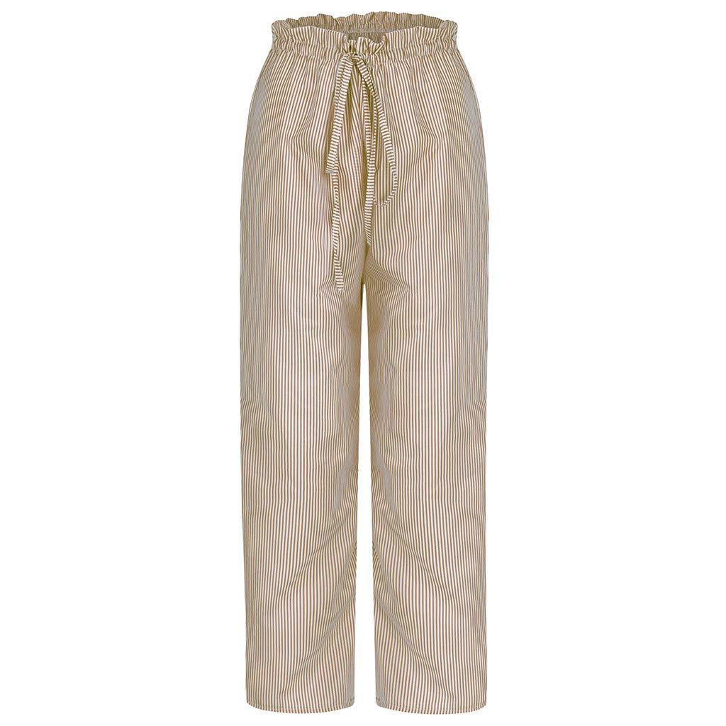 Amazon.com: WUAI-Women Pantalones de pierna ancha de algodón ...