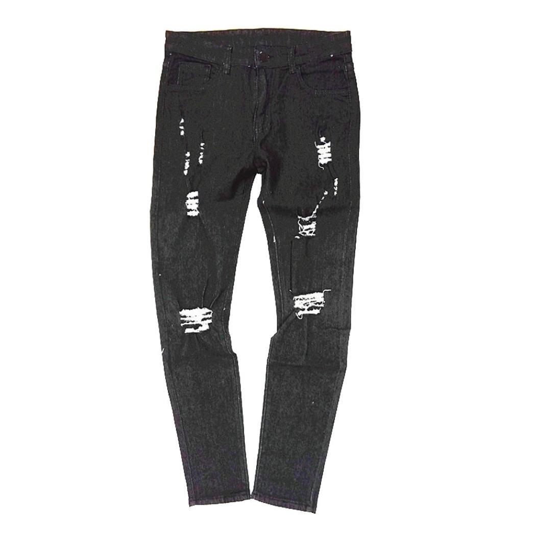 Fashion Slim Fit Biker Hiphop Basic Denim Jeans Skinny Frayed Stretch Destroyed Ripped Long Pants AMSKY❤ Men Trouser