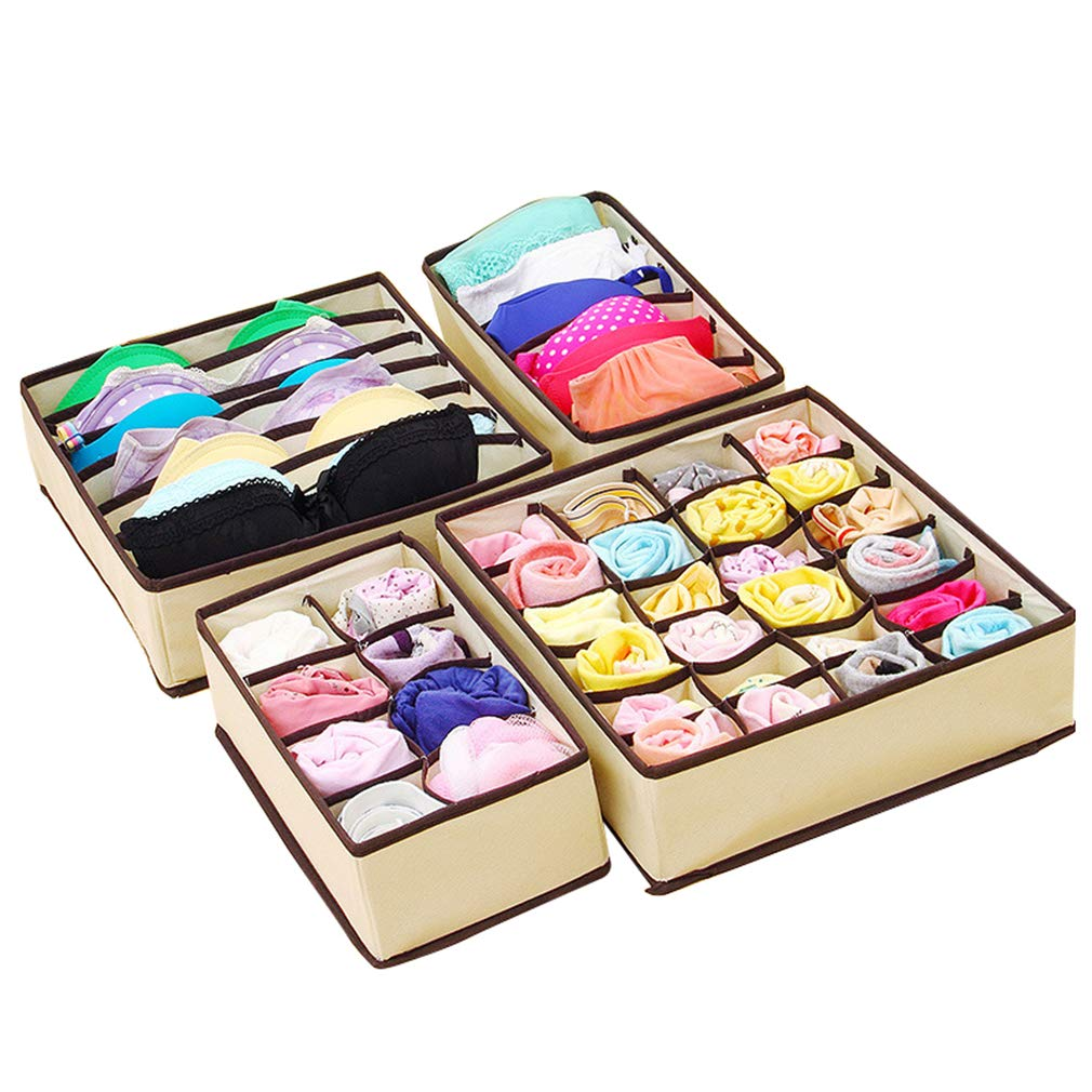 VADOLY Home Supply Foldable Multi Cell Bamboo Underwear Bra Scarf Socks Organizer Storage Box Drawer Closet