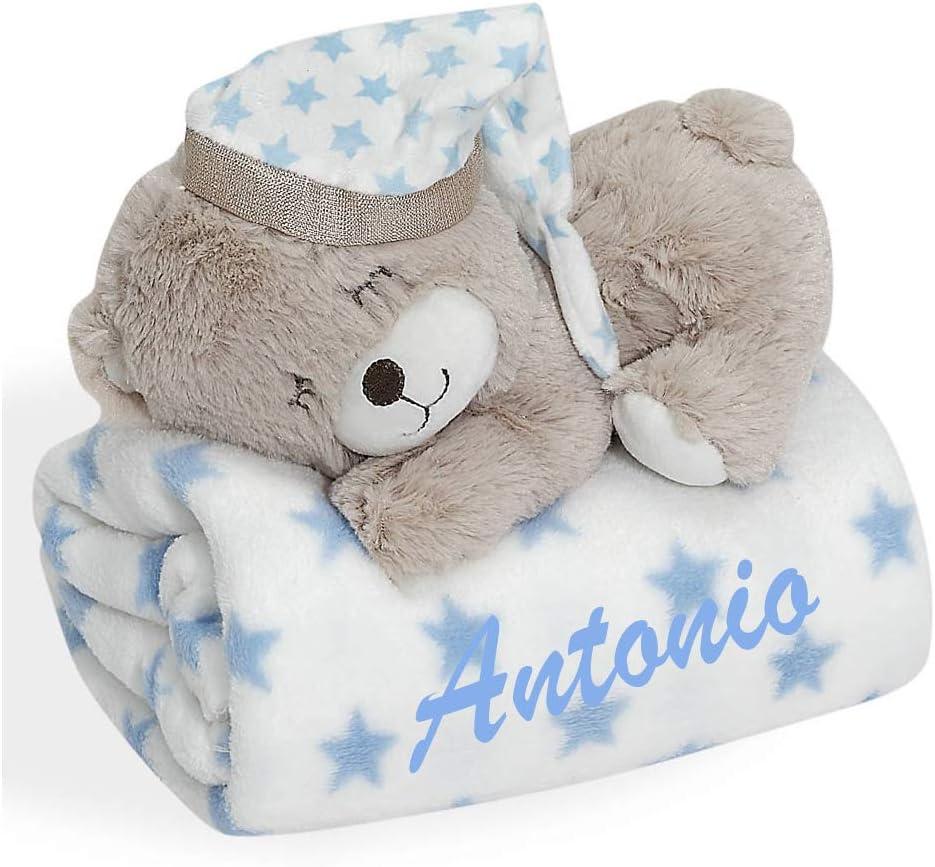 Set manta bebe BORDADA con nombre y peluche osito a juego (azul)