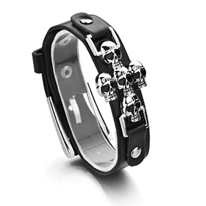 SimpleLife Squelette Crâne Punk Gothique Rock en Cuir Boucle De Ceinture  Bracelets Femmes Hommes Bracelets ee09d2ade86