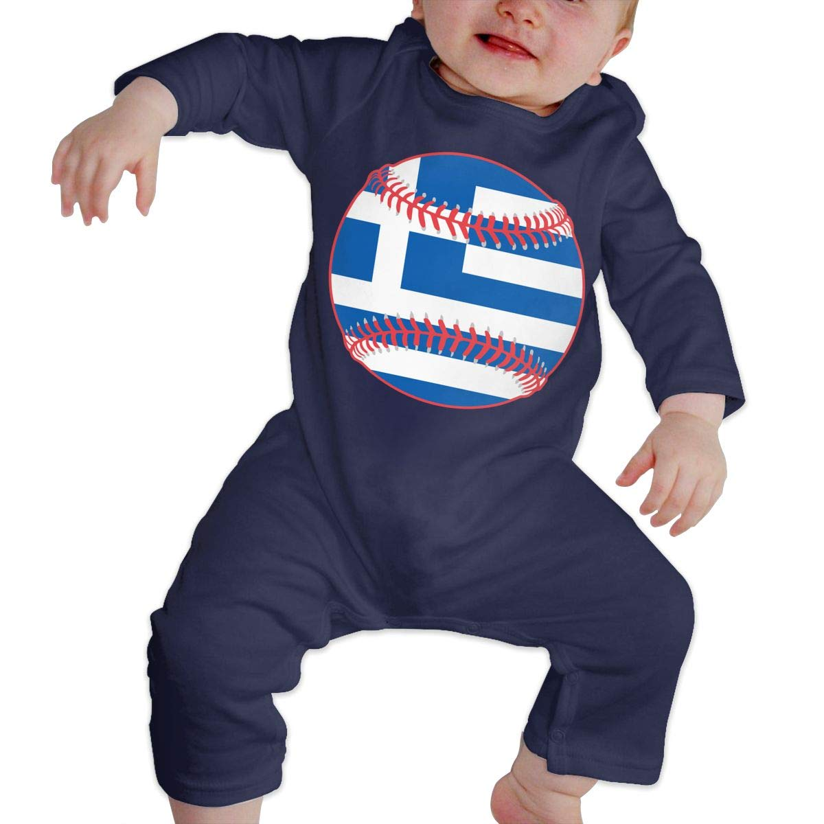 Mri-le1 Newborn Kids Long Sleeved Coveralls Greece Flag Baseball Clipart Baby Clothes