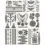 GIFT!! New Tastto 8 Sheets Body Paints Temporary Tattoos Black Lace Stickers for Girls and Women with GIFT
