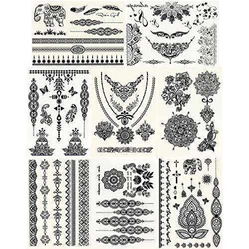 GIFT!! New Tastto 8 Sheets Body Paints Temporary Tattoos Black Lace Stickers for Girls and Women with (Halloween Zombie Makeup For Guys)