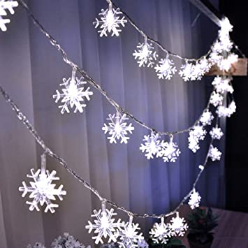 HuTools Christmas Snowflake Led Lights, 16.5ft 50 LED Battery-Operated  Fairy String Lights - Amazon.com : HuTools Christmas Snowflake Led Lights, 16.5ft 50 LED