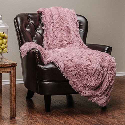 Chanasya Super Soft Long Shaggy Chic Fuzzy Fur Faux Fur Warm Elegant Cozy With Fluffy Sherpa Powder Pink Microfiber Throw Blanket (50