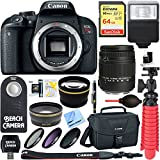 Canon EOS Rebel T7i Digital SLR Camera with Sigma 18-250mm Macro Lens + 64GB Extreme SDXC Memory UHS-I Card + Accessory Bundle