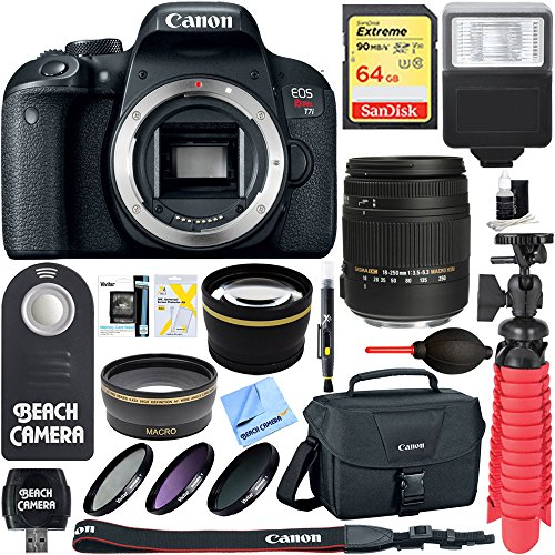 Canon EOS Rebel T7i Digital SLR Camera with Sigma 18-250mm Macro Lens + 64GB Extreme SDXC Memory UHS-I Card + Accessory Bundle by Beach Camera