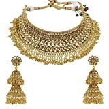 MUCHMORE Ethnic Gold Brass Made Full Choker Polki Bridal Necklace Set For Women …