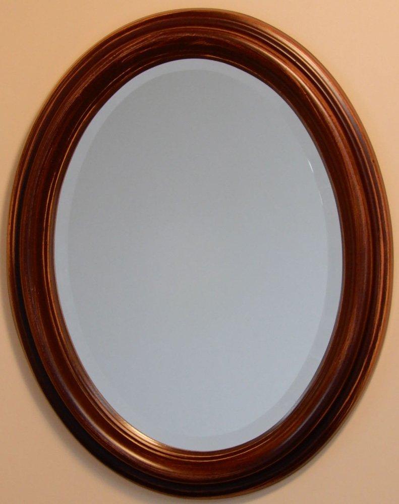 イタリア製 JHAアンティーク風水ミラー オーバル シンプル (ブラウン)楕円W365×H463(S) IE-2 (デラックス:面取り加工)壁掛け鏡 ウォールミラー B00JCOB0NQ ブラウン ブラウン
