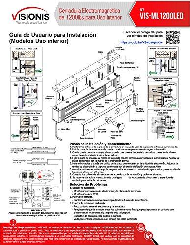 Visionis VS-VISML1200LED Cerradura Electromagnética de 1200lbs para uso en interiores - - Amazon.com
