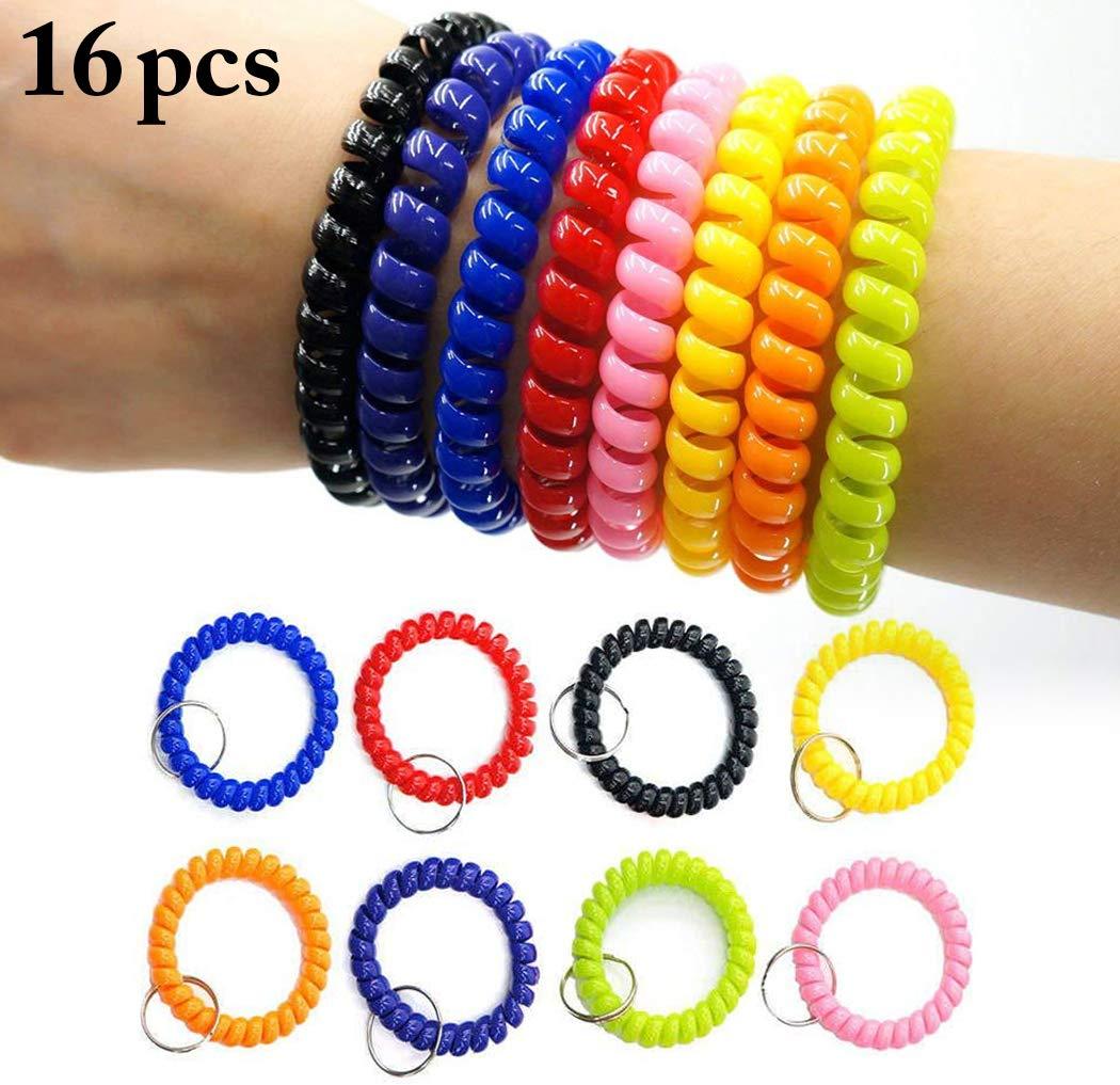 Justdolife 16PCS FrüHlings Armband Elastisches Handgelenk Keychain FrüHlings Armband