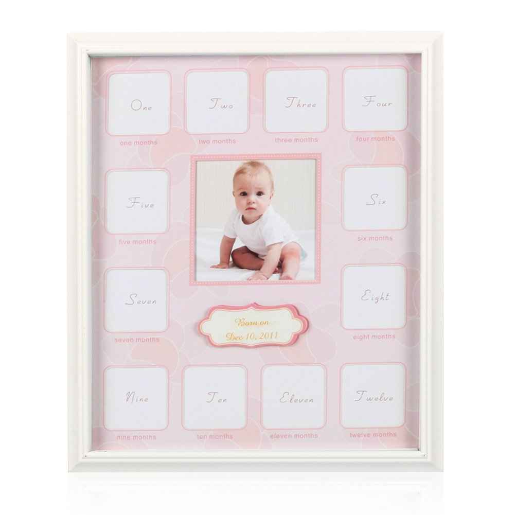 """Collage Photo Frame for Baby First Year Keepsake - Multi Picture Frames with Twelve 1.8"""" and One 3.7"""" Slots for Baby Present Memory Home Decoration - Pink White Made of Prime Wood Panel and Glass"""