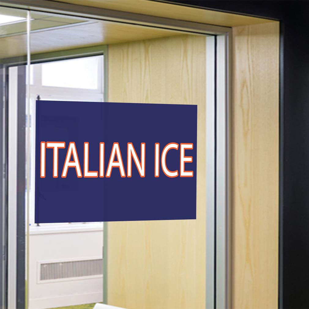Set of 10 Decal Sticker Multiple Sizes Intalian Ice Retail Italian Ice Outdoor Store Sign Blue 14inx10in