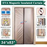 """IKSTAR Magnetic Thermal Insulated Curtain Conditioner Heater Room/Kitchen Warm Winter Cool Summer, Keeping Out Draft and Cold Air Screen Auto Closer Fits Doors Up to 34""""x 82"""" MAX, Brown"""