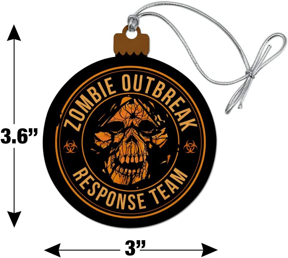 Graphics More Zombie Outbreak Response Team Skull Yellow Circle Wood Christmas Tree Holiday Ornament Home Kitchen