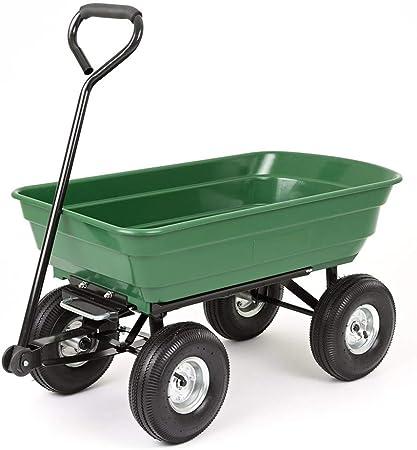 lcc Carro de Descarga Carretilla de jardín 200 Kg con Marco de Acero de Alta Resistencia Neumáticos para Tractores de césped Cortacésped Barrow Carrrow Wagon Carrier (Verde): Amazon.es: Hogar