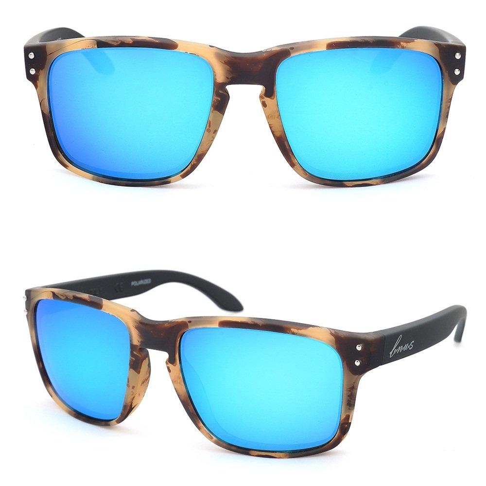 Bnus italy made corning Glass lens polarized Sunglasses For Men Women (Frame: Chaparral/Lens: Blue Flash, Polarized) by B.N.U.S