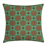 Turquoise Throw Pillow Cushion Cover by Ambesonne, Eastern Pattern of Mandala Traditional Indian Geometric Tribal Artwork, Decorative Square Accent Pillow Case, 18 X18 Inches, Green Red Yellow