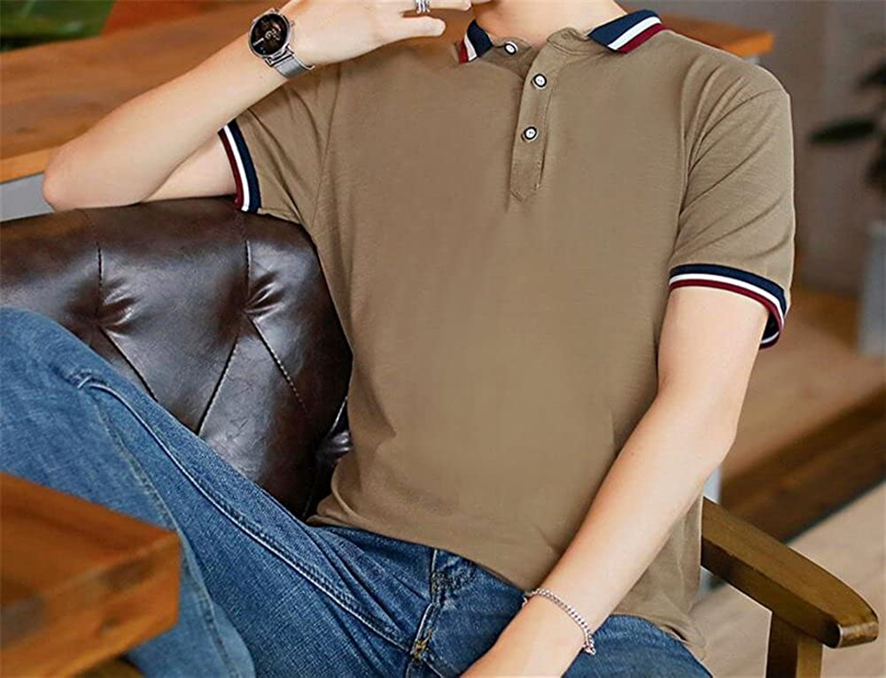 Mens Creative Graphic Polo Shirt Simple Style Solid Color Short Sleeve Shirt