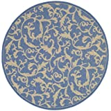 Safavieh Courtyard Collection CY2653-3103 Blue and Natural Indoor/Outdoor Round Area Rug, 7 Feet 10-Inch in Diameter