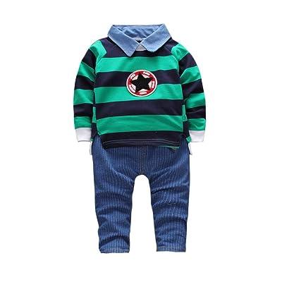 zycShang Tout-petits pour bébés Maillots pour bébés Pull à rayures T-shirt Tops + Ensembles de vêtements pour pantalons (36M, vert)