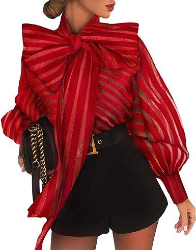 Yying Blusa de Rayas Transparentes Malla Mujer Camisa Superior Manga Larga Transparente Elegante y Grande Bowknot Camisa Roja Negra Blusas: Amazon.es: Ropa y accesorios