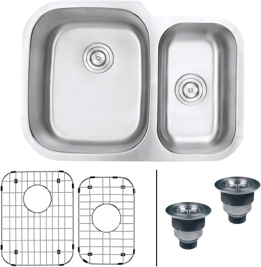 Ruvati 29-inch Undermount 60 40 Double Bowl 16 Gauge Stainless Steel Kitchen Sink – RVM4500