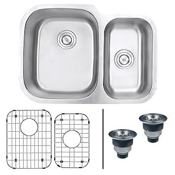 Ruvati 29 Inch Undermount 6040 Double Bowl 16 Gauge Stainless Steel Kitchen Sink Rvm4500