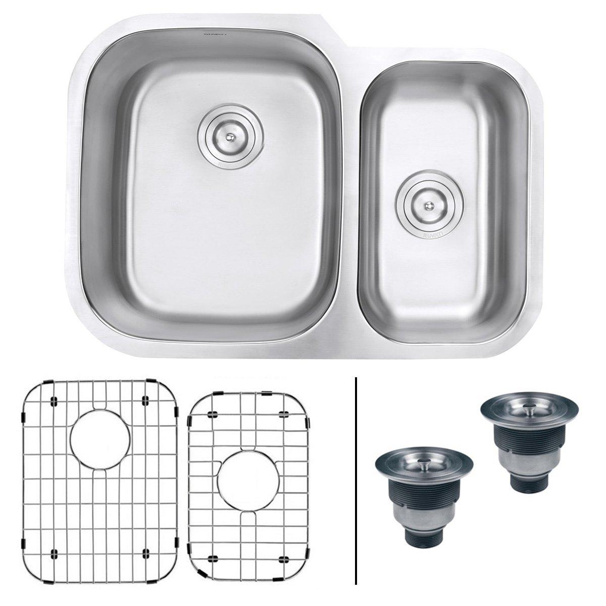 Ruvati 29-inch Undermount 60/40 Double Bowl 16 Gauge Stainless Steel Kitchen Sink - RVM4500