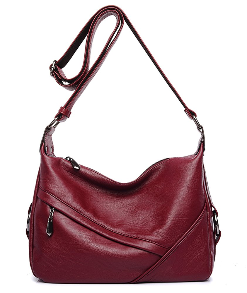 Molodo Women PU Leather Big Shoulder Bag Purse Handbag Tote Bags Wine-red by Molodo