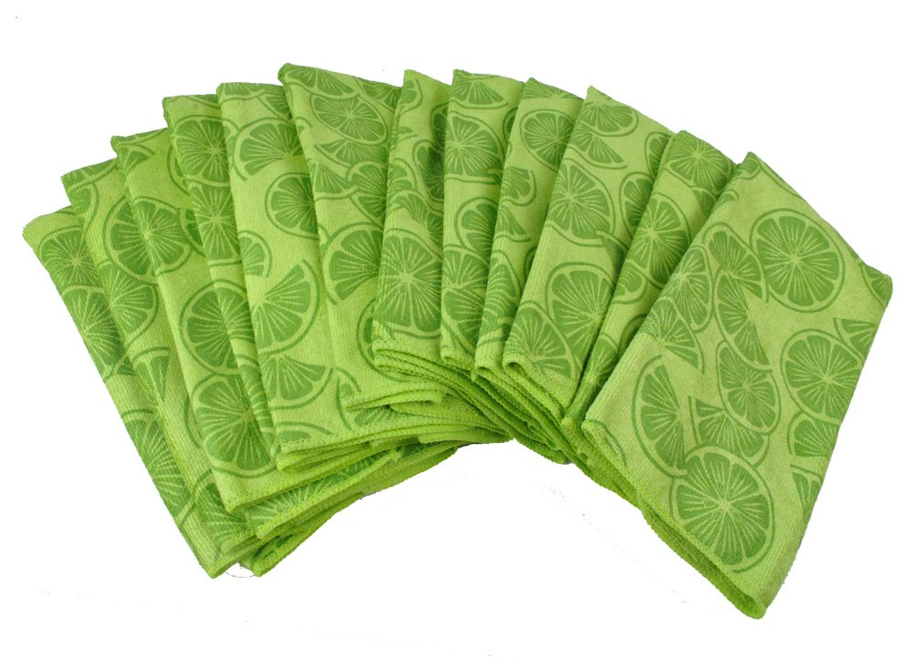DII Bulk Pack Microfiber Cleaning Towels, 16 by 24-Inch, Lime, Set of 12 by DII
